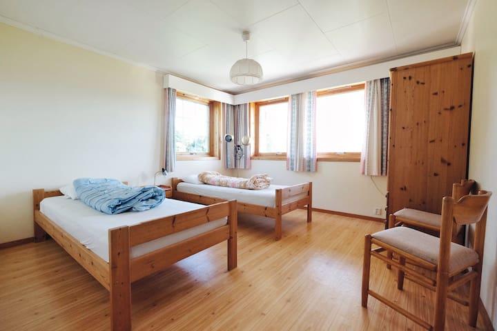 Two single beds one sleeping room