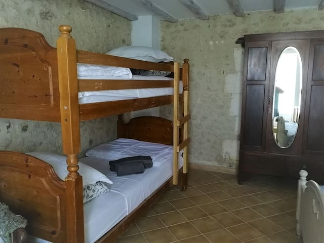 Bunkbeds to sleep two people (additional child's cot available on request)