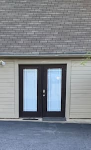 Driveway is right next to double entry door