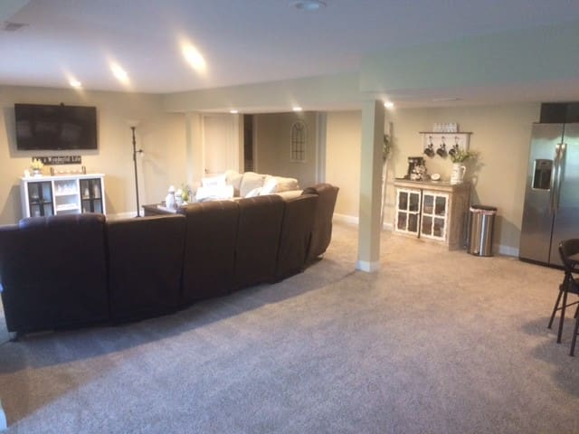 Private large well finished basement