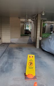 Flat walk from parking to elevator path.