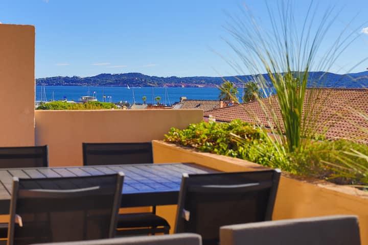 Vacances vue mer grande terrasse, 80 m de la plage