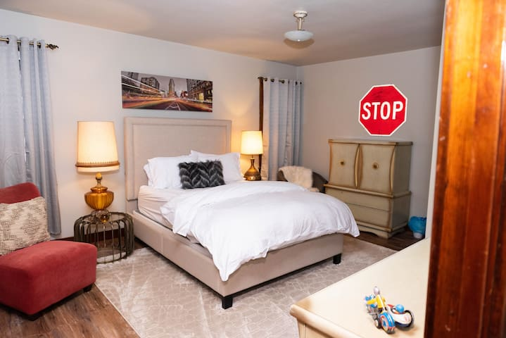 Bedroom 1- A comfortable new mattress paired with vintage furnishings for the nest of both worlds!