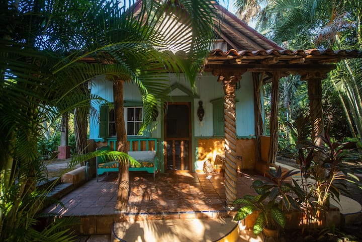 La Casita in a tropical garden beach paradise