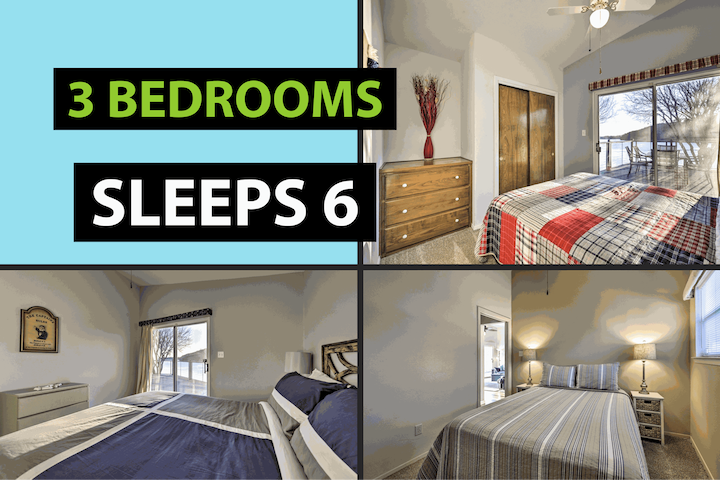 3 Bedrooms (1 King, 2 Queens) are ready to welcome you and your friends (6 Adults....reach out if you have babies/kids and we can possibly accommodate 6 adults + 1 or 2 tiny humans).   ★2 Bedrooms have patio access and amazing lake views★