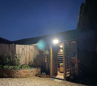 The entrance to The Barn is well lit all night.