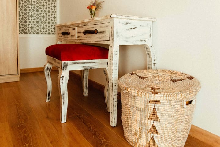Master bedroom table and stool