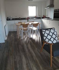 ground floor, open plan living, dining and kitchen area.