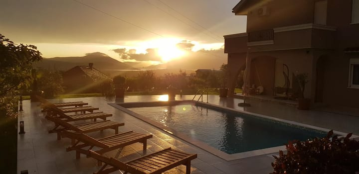 Amazing Sunsets over Bay in villa Mina