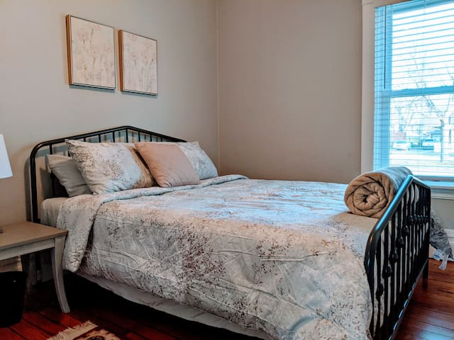 The first floor bedroom offers a Queen size bed.