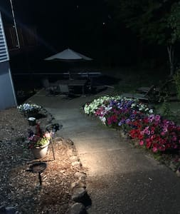 The pathway down to the lower level BnB is steep.   There are no railings but the pathway is lighted well at night with both solar and sensor lights.
