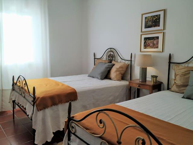Quarto com duas cama de solteiro king size, roupeiro, cómoda e espelho. Janela para o pátio e jardim.
