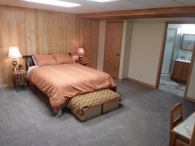 Queen bed in the basement