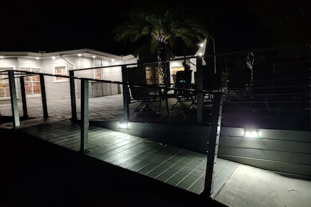 Photo if lighted ramp to the deck.