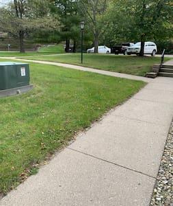 Take the sidewalk, avoiding any stairs. Easy peasy!