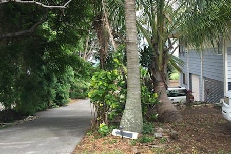 Driveway to apartment under house. It is a level parking space with lighting for easy access.