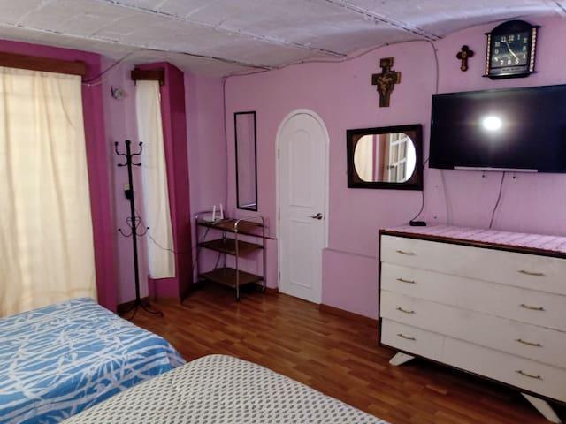Recamara con dos camas y televisión