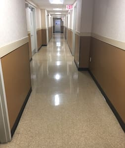 Wide hallways at the basement where community center and business center are located. Same big hallway in every floor.