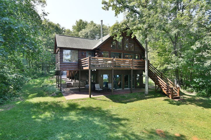 Trego Lake House- level elevation and pontoon