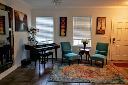 No Stairs in home.. also, a Beautiful baby grand piano to enjoy.