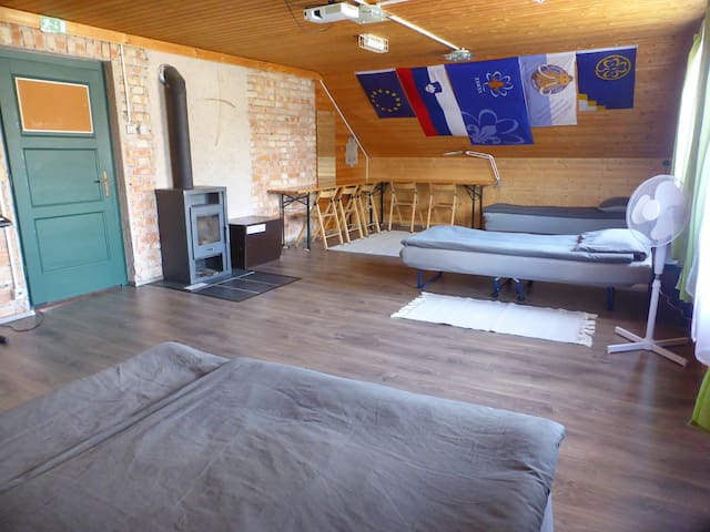 ... or a bedroom where up to 6 people can sleep on up to 2 double and/or up to 3 single beds (we make beds configuration as it suits you best). Since July 2021 this room has also a real air conditioner, not just a fan, but you can use one or another.