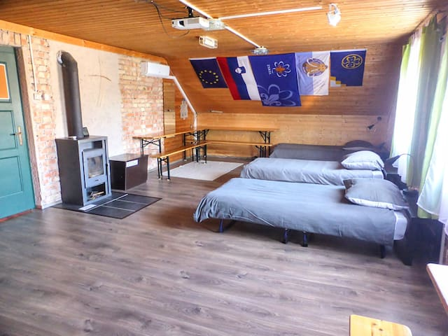 ... or a bedroom where up to 6 people can sleep on up to 2 double and/or up to 3 single beds (we make beds configuration as it suits you best).