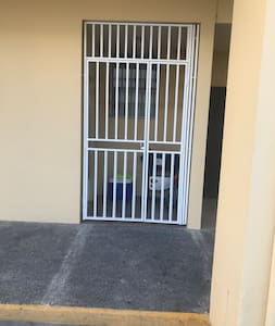 """The entrance to the property. Entrance door 36""""."""