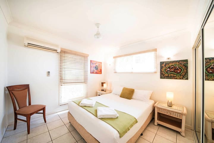 Second Bedroom with queen bed, robe and air-con. Furniture has been updated since this photo