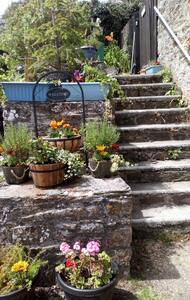 To access the breakfast room there is a stone staircase with a sturdy hand rail. There is a small step into the area where the breakfast room is. This is only open to guests at breakfast. Our garden area is also accessed via the same stair case.