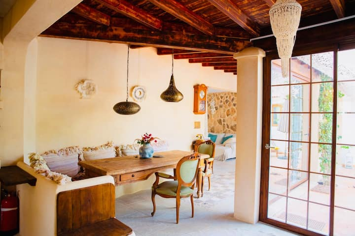private room with double bed in nice organic finca