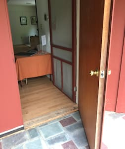 This is an entrance where the floor is flush with the outside entry pad. Easy access for motorized chairs.