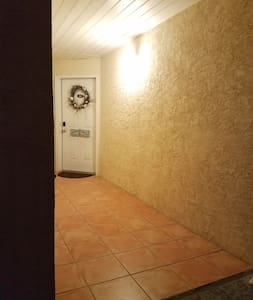 35 inch wide doorway. 42 in wide steps leading to doorway.