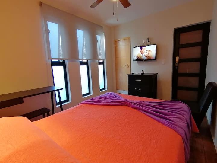 Habitación Vista al Patio!Escritorio/WIFI/Smart Tv