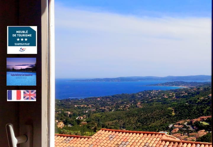 T2 CALM 37 m² SEA VIEW St Tropez gulf Amazing POOL
