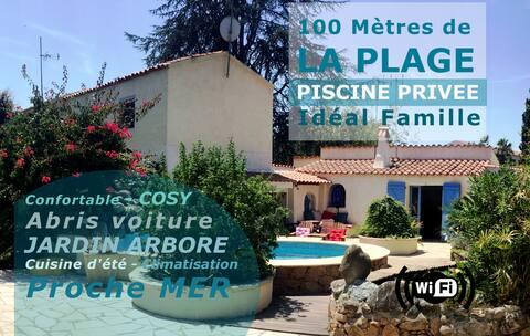 🌈  VILLA BRAVONE - 100 m plage - Piscine privée
