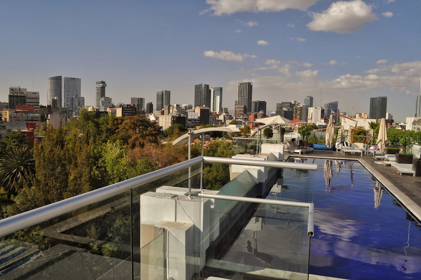 VRBO Mexico City: Rooftop pool overlooking the a large park and the city in the distance