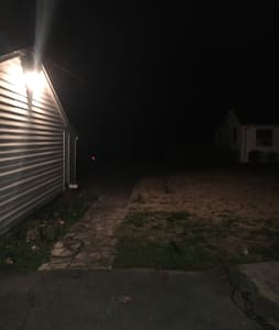 We have motion sensor lights on side of garage and side of man cave to light your way