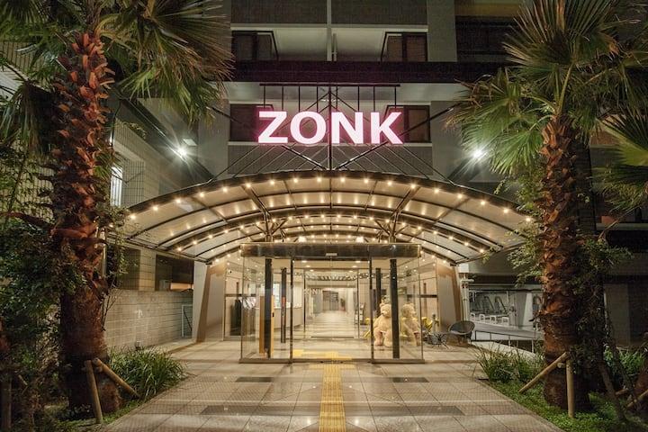 【ゾンクホテル中洲】スタンダードルーム セミダブルベッド2台 キッチン付 禁煙 毎日の清掃なし