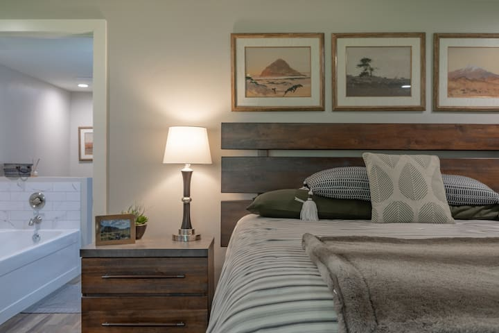 Master Bedroom with ensuite bathroom – King Bed with TV