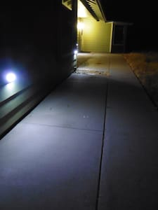 Path is lit with motion detector lights