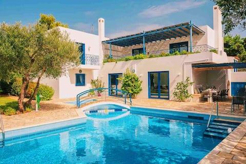 Summer Villa Pasiphae Private Pool-BBQ-beach 2 min