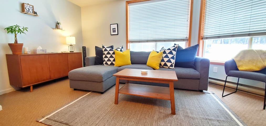 Living room featuring a comfortable queen sofa bed * Wall furnishings have been recently updated