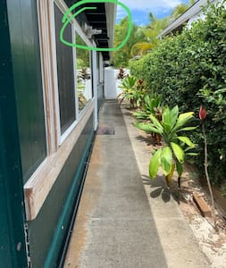 Flat walkway and lighted path to your private entry.