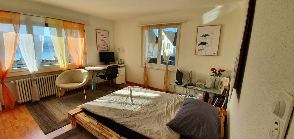 Large sunny room, beautiful lake view & parking