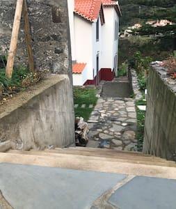 Stairways from parking to Casa da Torre