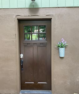 Front door entrance with digital lock for easy access