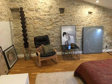 Atelier d 'Artiste/Grange z sauną zewnętrzną