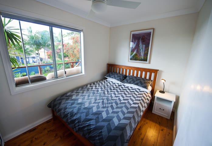 Third bedroom - Queen Bed, comes with ceiling fan,  built in wardrobe and desk.