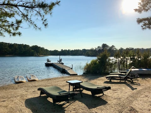 Restorative Lakefront Retreat with Private Beach