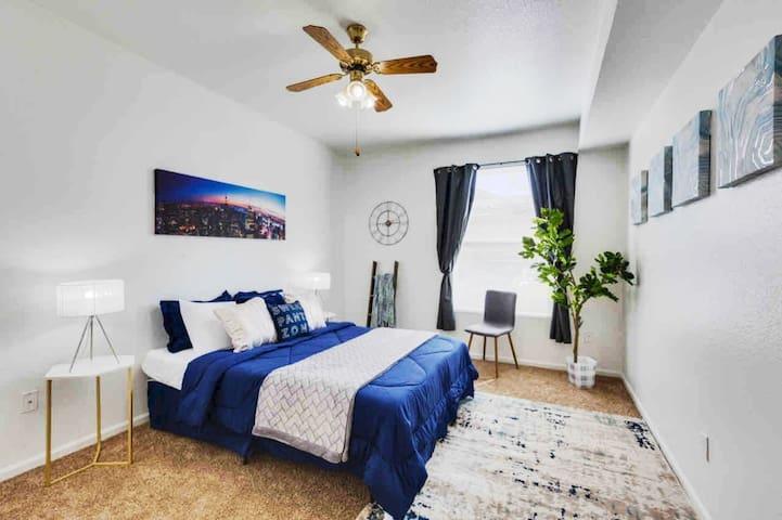 Second bedroom with a memory foam queen bed